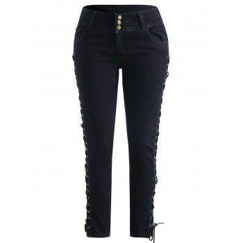 Plus Size Five Pocket Dark Wash Jeans - BLACK L