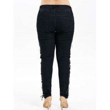 Plus Size Five Pocket Dark Wash Jeans - BLACK 1X
