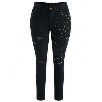 Plus Size Ripped Embellished Skinny Jeans - BLACK L