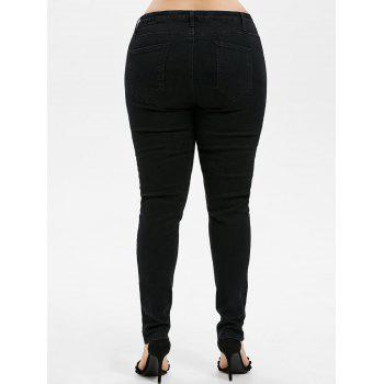 Plus Size Ripped Embellished Skinny Jeans - BLACK 4X