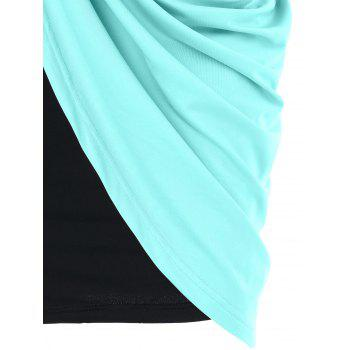 One Shoulder Overlay Bodycon Dress - MACAW BLUE GREEN M