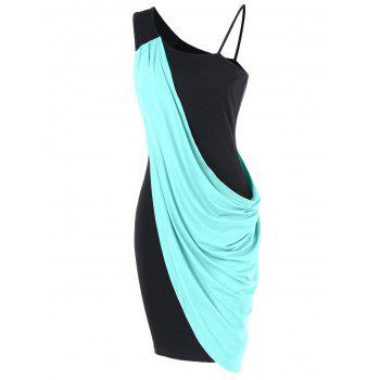 One Shoulder Overlay Bodycon Dress - MACAW BLUE GREEN L