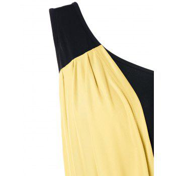 One Shoulder Overlay Bodycon Dress - YELLOW L