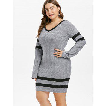Plus Size Contrast Trim Long Sleeve Fitted Dress - LIGHT GRAY 5X