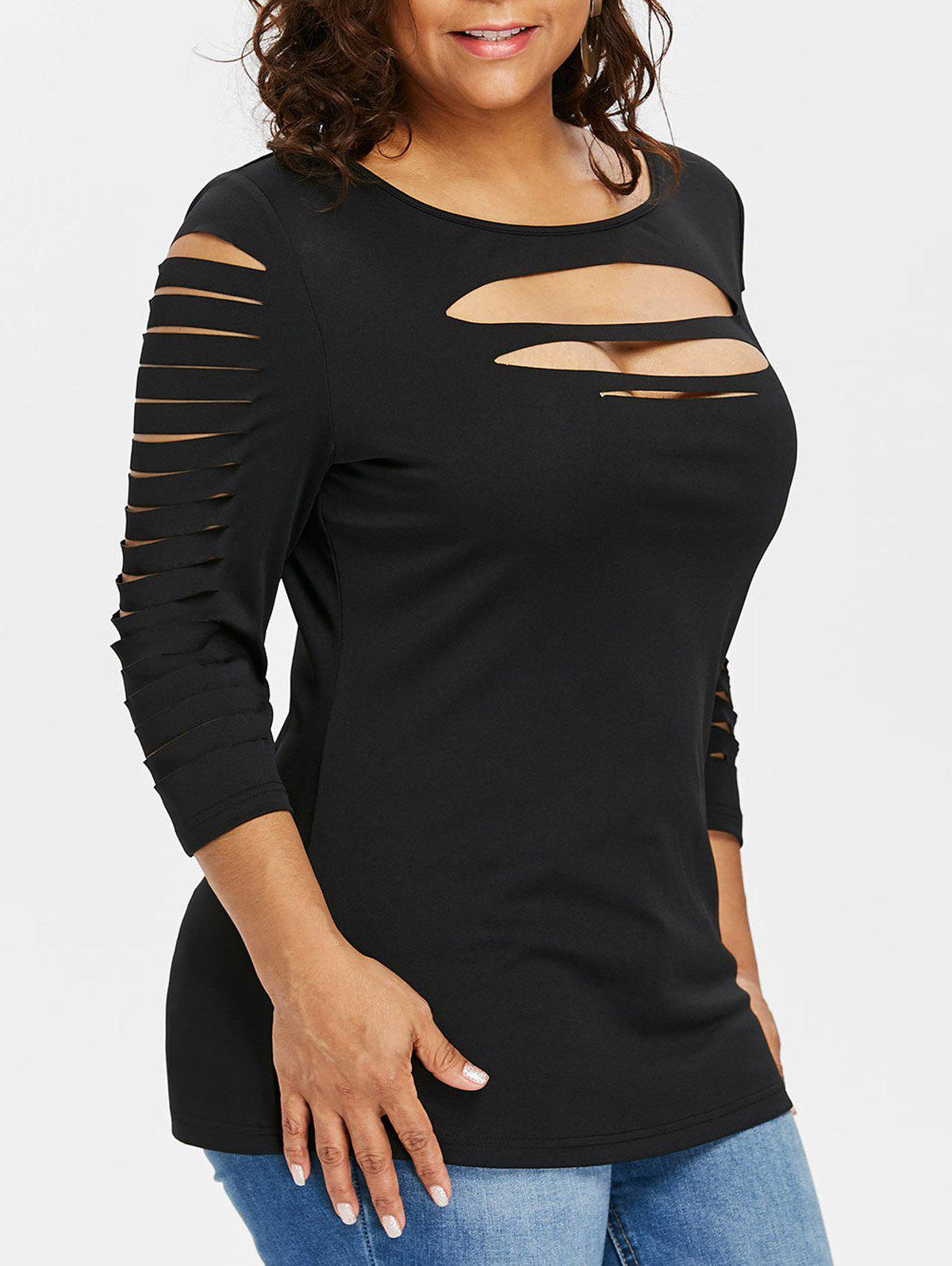 Plus Size Ladder Ripped Cut Front T-shirt - BLACK 3X