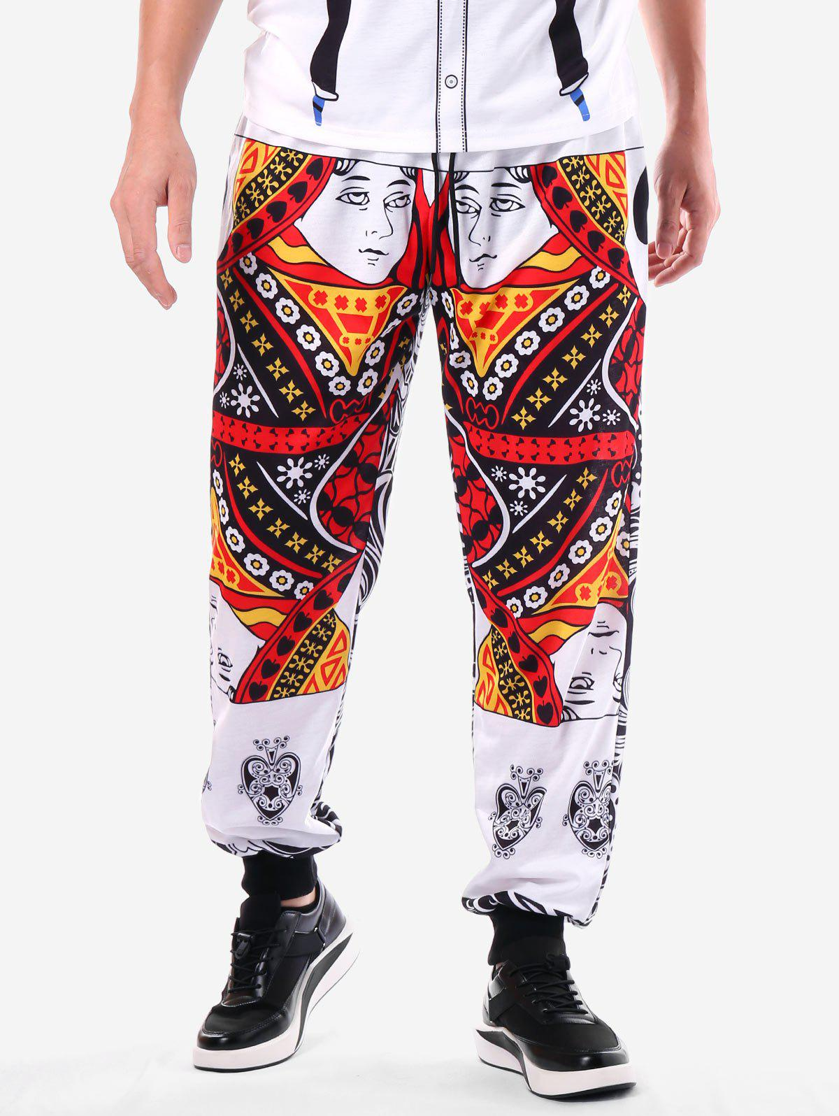 Poker Cards Print Narrow Feet Pants - WHITE XL