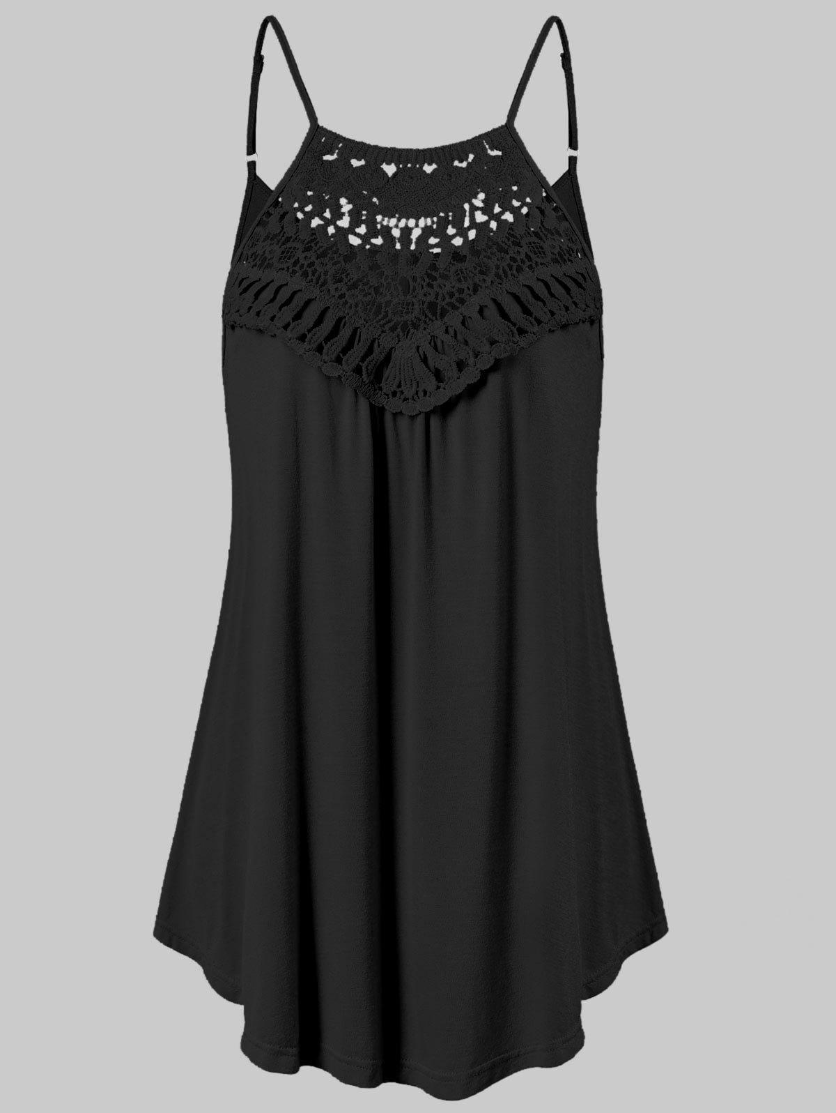 Lace Crochet Cami Tank Top - BLACK XL