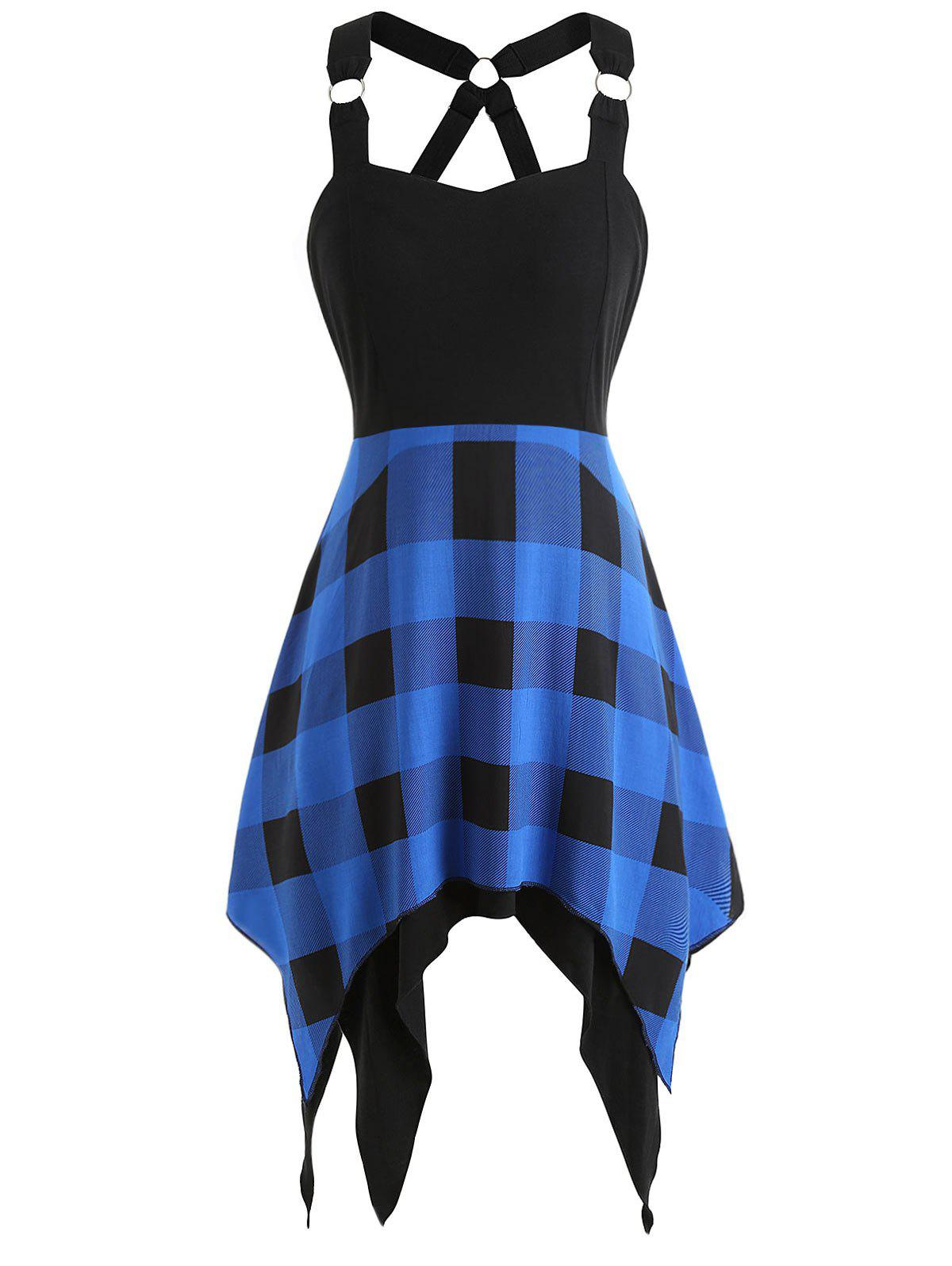 Sweetheart Neck Tartan Print Insert Dress - BLUE 2XL