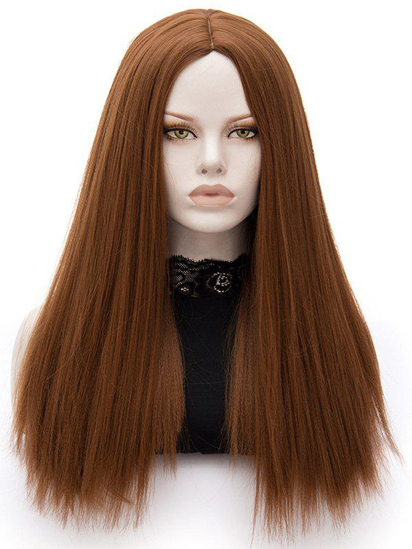 Long Middle Part Straight Party Heat Resistant Synthetic Wig - BROWN