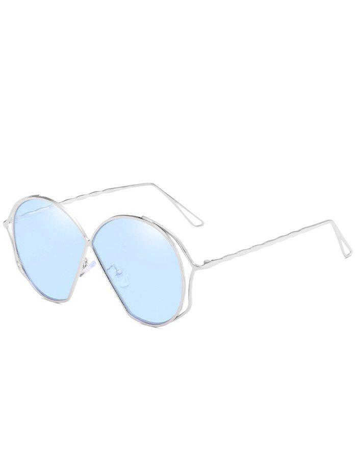Novelty Metal Frame Irregular Flat Lens Sunglasses - DAY SKY BLUE