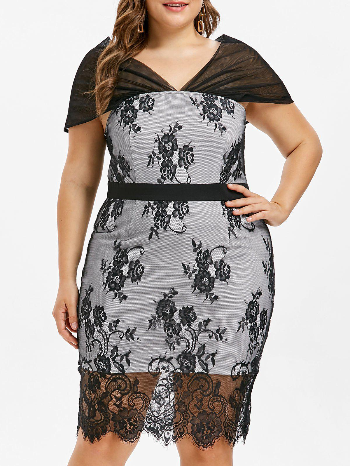 Plus Size Knee Length Lace Overlay Dress - BLACK L