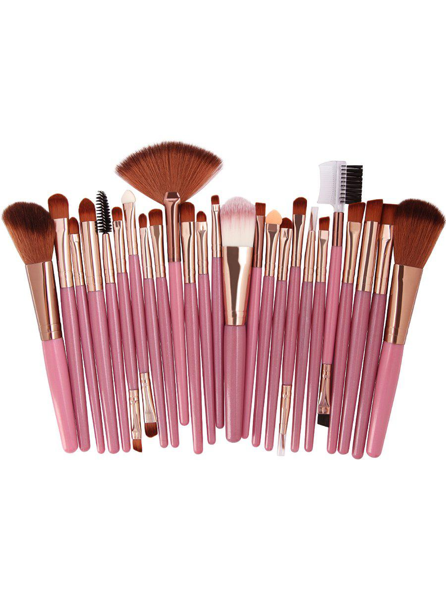 Set of 25Pcs Ultra Soft Fiber Hair Cosmetic Brush Set - ORANGE PINK