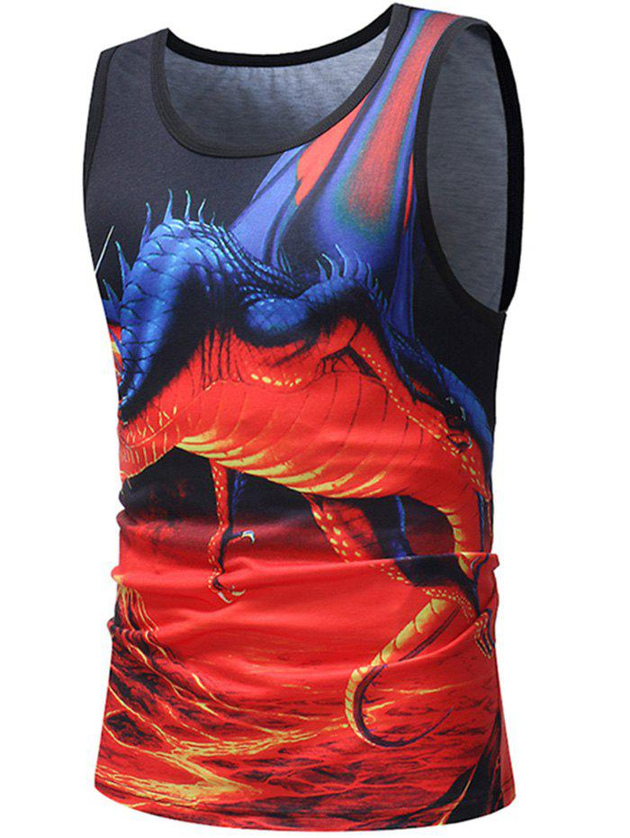 Casual Flame Pterosaur Print Tank Top - multicolor 3XL
