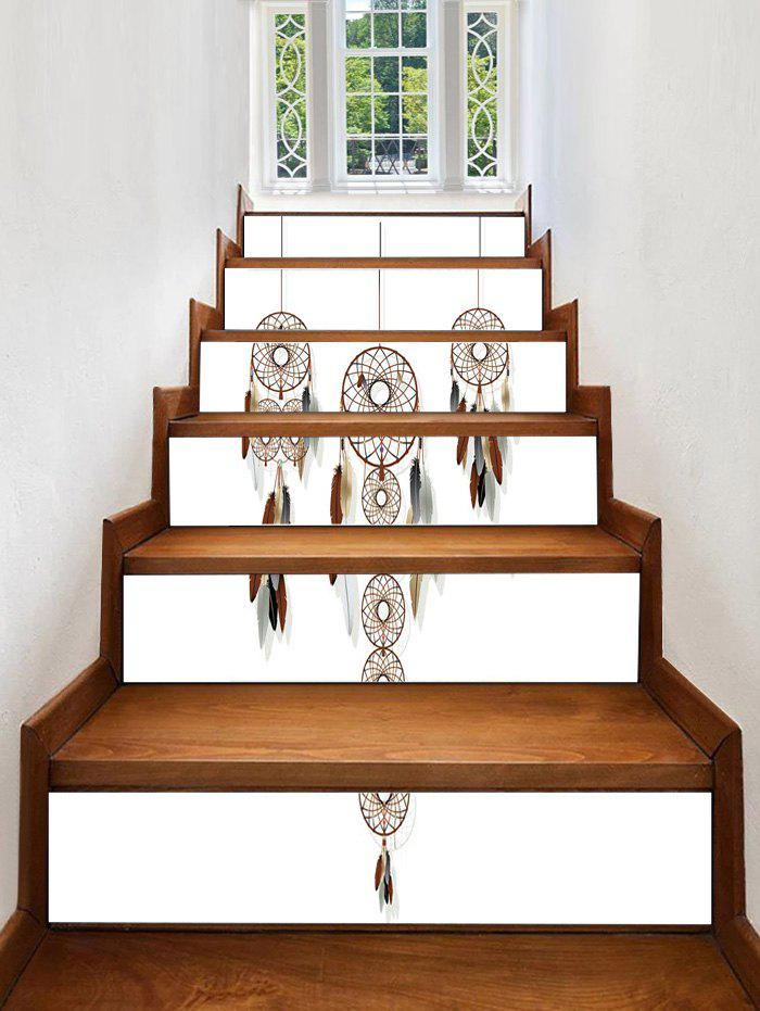 Dream Catcher Feather Printed Decorative Stair Decals - WHITE 6PCS:39*7 INCH( NO FRAME )