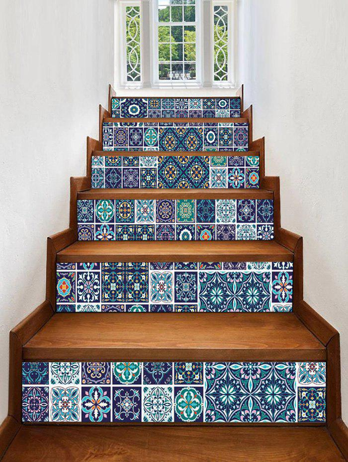 Geometric Printed Decorative Stair Decals - multicolor 6PCS:39*7 INCH( NO FRAME )