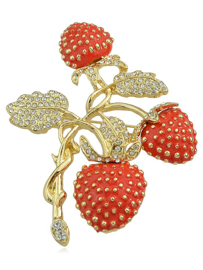 Broche Design Fraises en Strass - multicolor