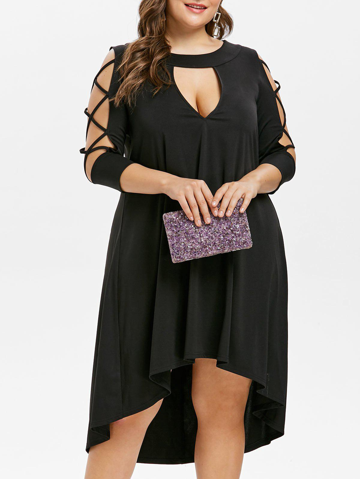 Plus Size Cut Out High Low Dress - BLACK 2X