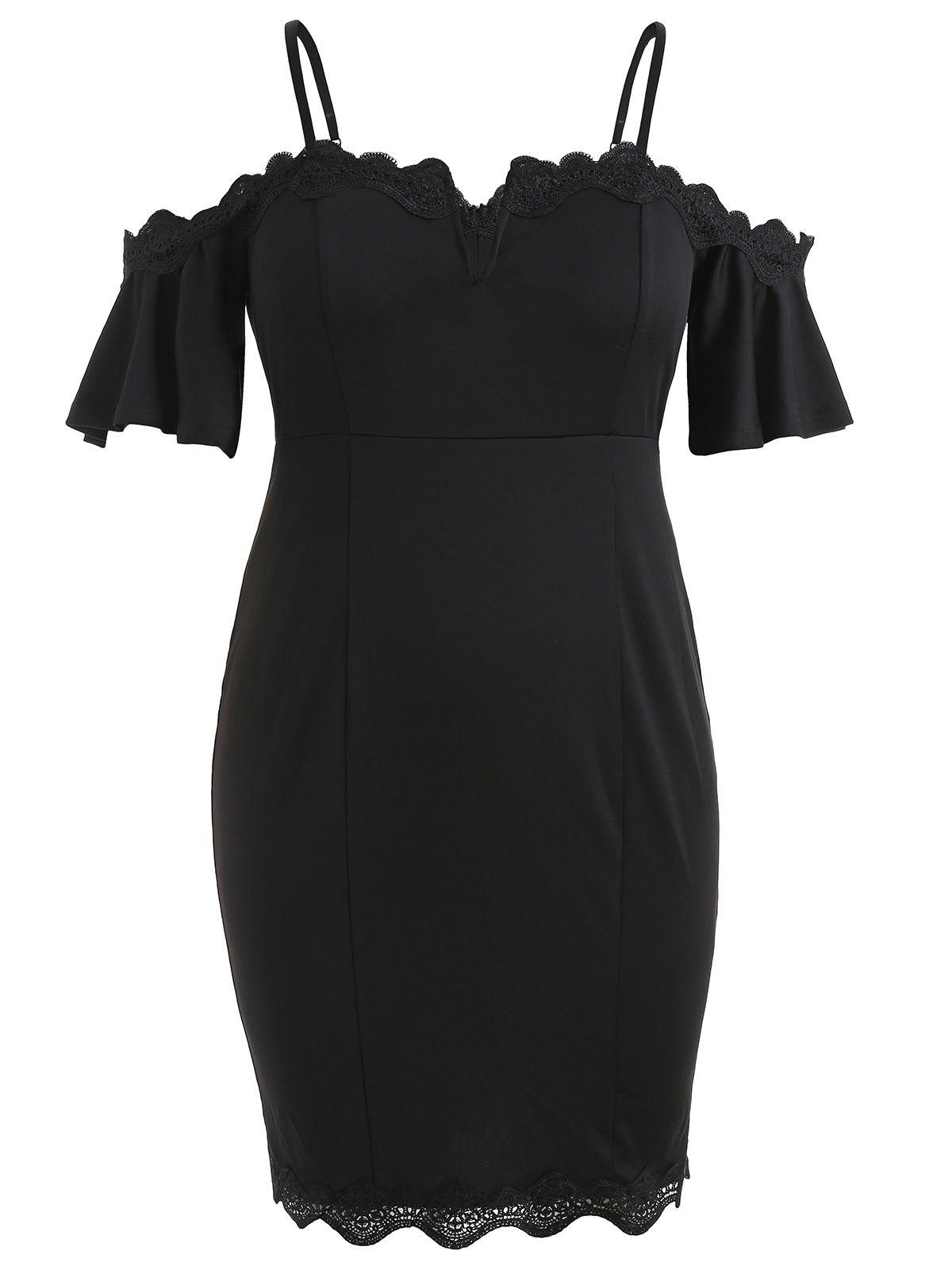 Plus Size Flare Sleeve Knee Length Fitted Dress - BLACK 1X