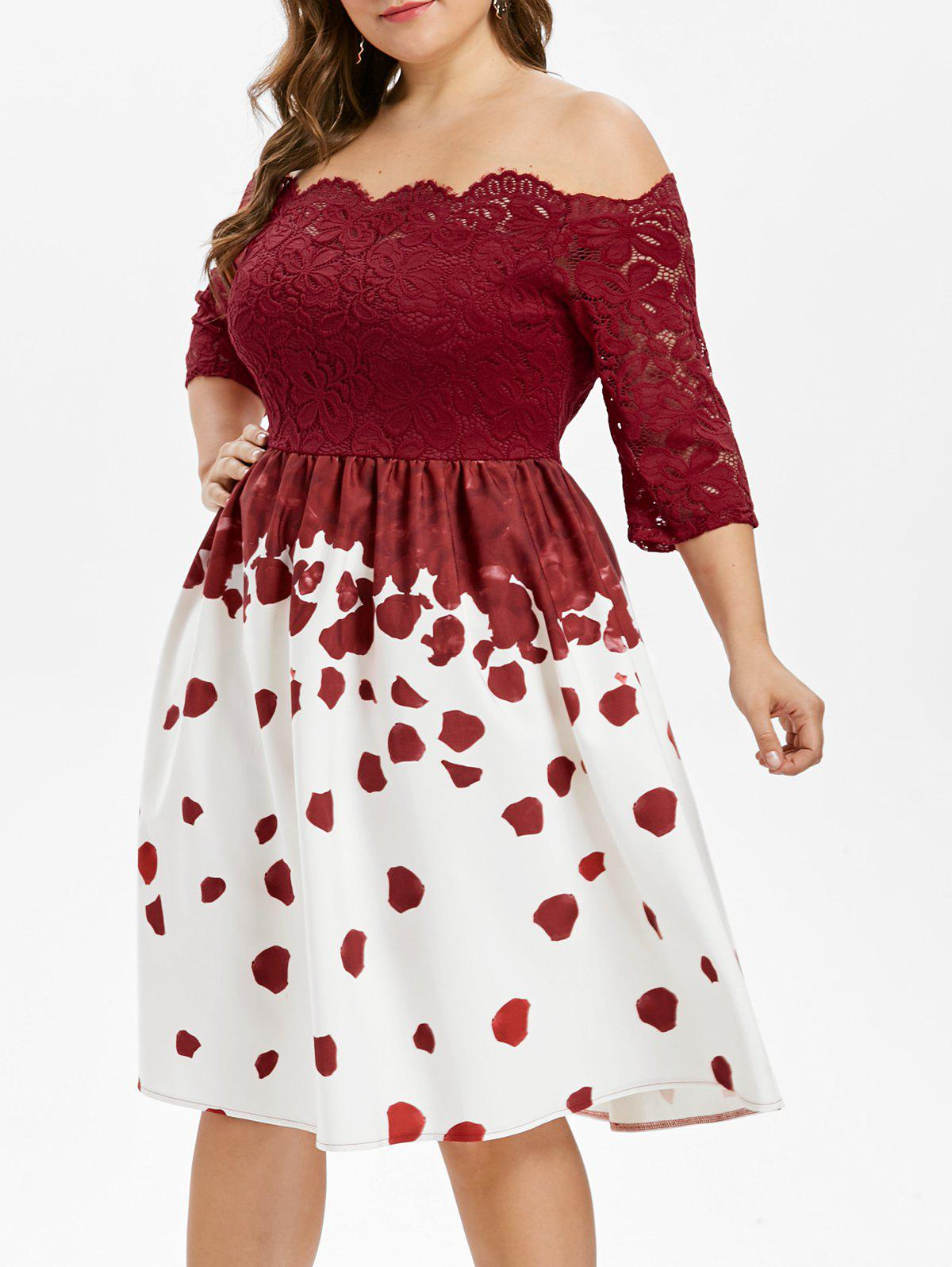 Plus Size Lace Insert Party Dress - RED 1X