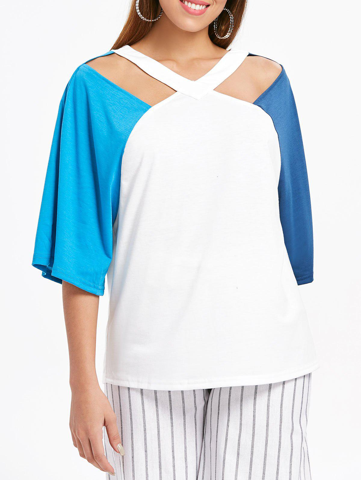Color Block V Neck T-shirt - BLUE M