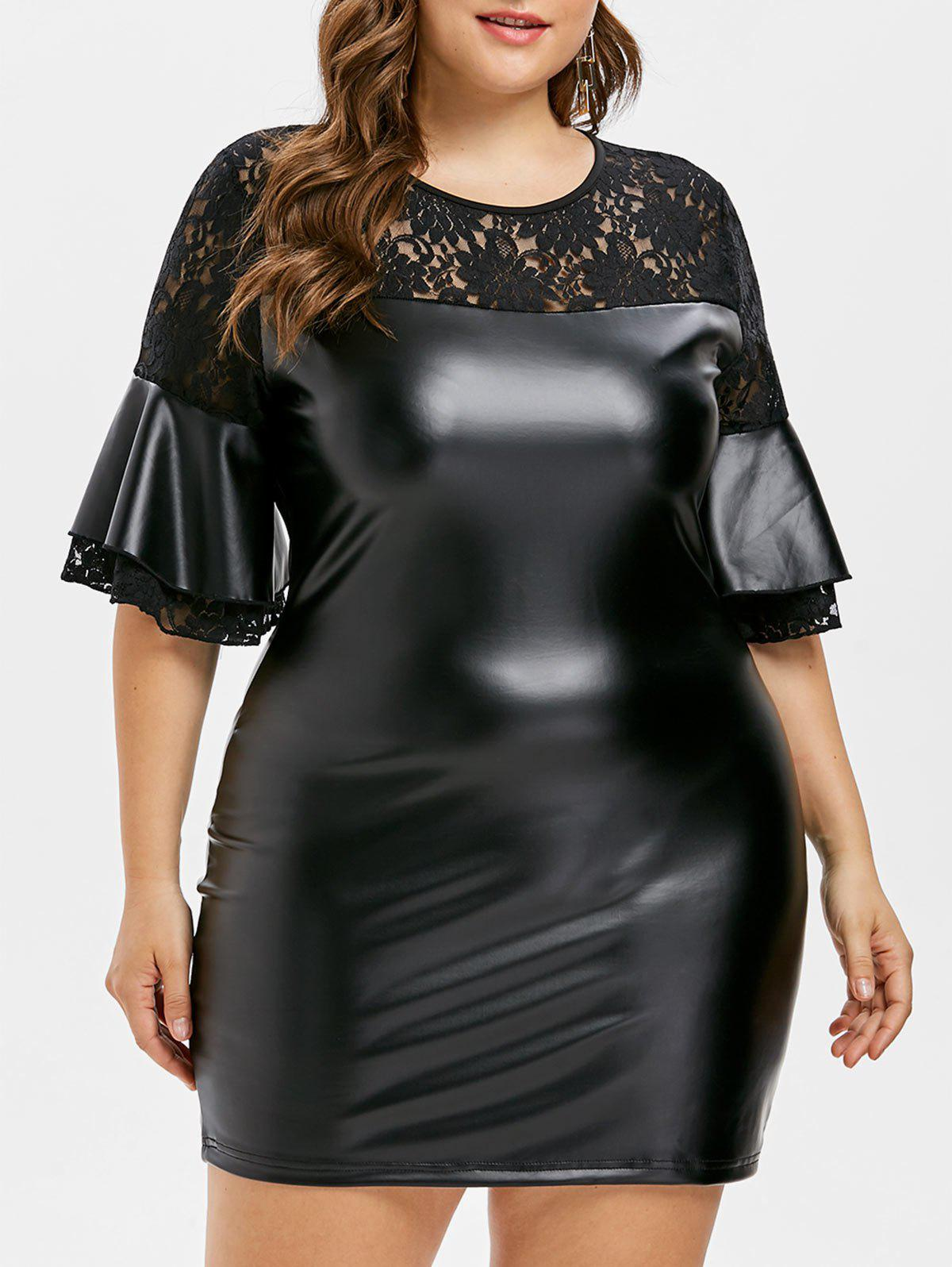 Plus Size Bell Sleeve Bodycon Dress - BLACK 3X