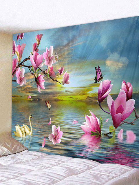 Sunrise Flowers River Print Wall Hanging Tapestry - multicolor W59 INCH * L59 INCH