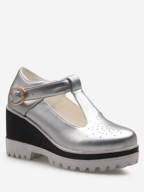 Plus Size Buckled Leisure Cut Out Wedge Shoes - SILVER 37