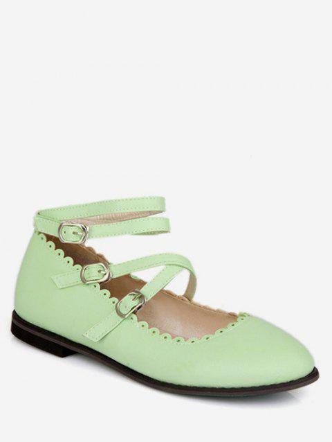 Plus Size Crisscross Buckles Ankle Strap Flats - GREEN THUMB 39