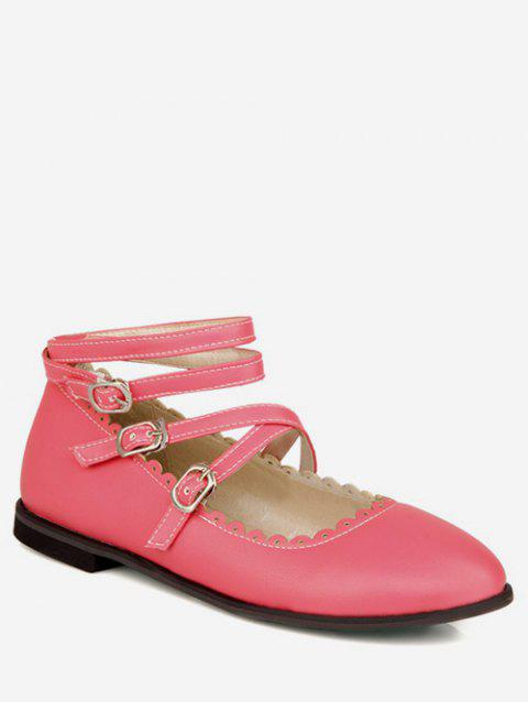 Plus Size Crisscross Buckles Ankle Strap Flats - ROSE RED 37