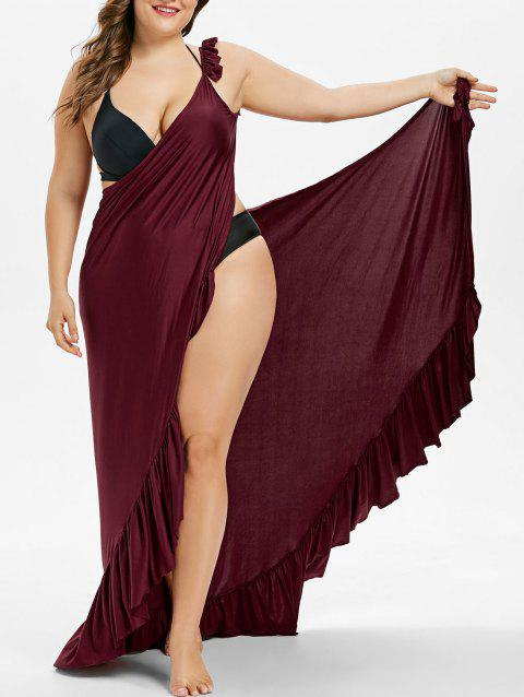 Maxi Plus Size Flounce Wrap Beach Dress - RED WINE 3X