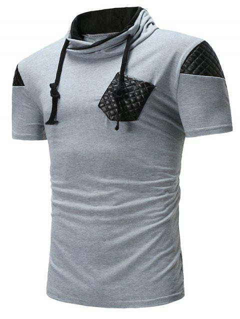 Lace Up Patch Short Sleeve Casual T-shirt - GRAY 2XL