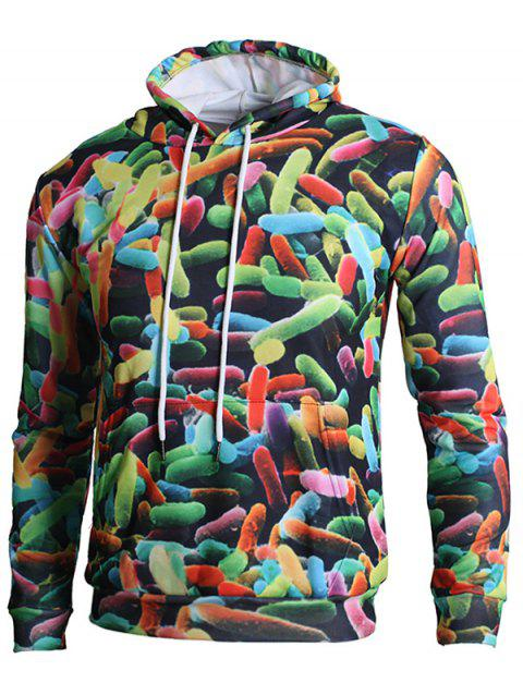 3D Candy Print Drawstring Hoodie - multicolor XS