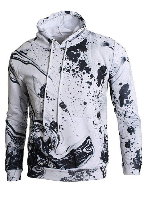 Ink Splash Print Kangaroo Pocket Hoodie - SILK WHITE XS