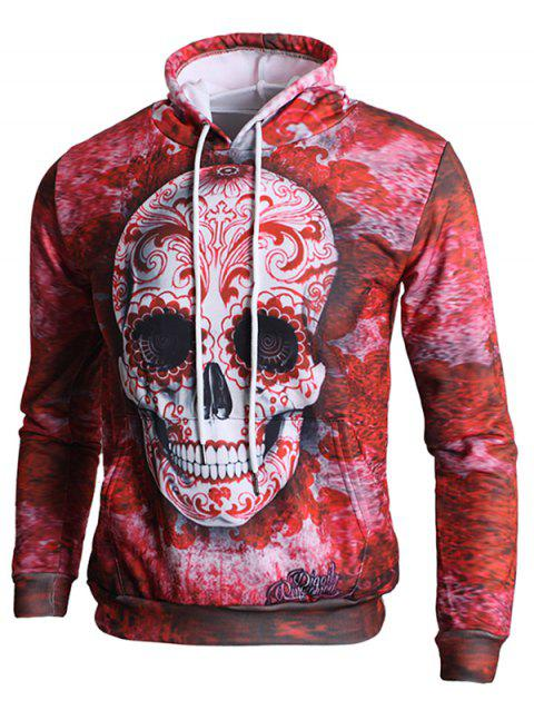 Long Sleeve 3D Skull Print Kangaroo Pocket Hoodie - LOVE RED S