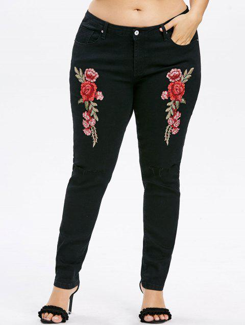 Plus Size Embroidery Knee Cut Jeans - BLACK 3X