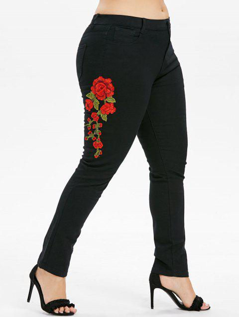Plus Size Embroidered Skinny Jeans - BLACK 1X