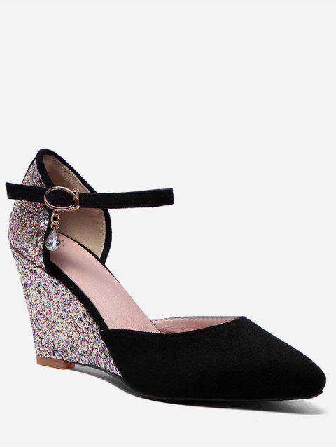 Plus Size Ankle Wrap Glitters Wedge Heel Chic Pumps - BLACK 42