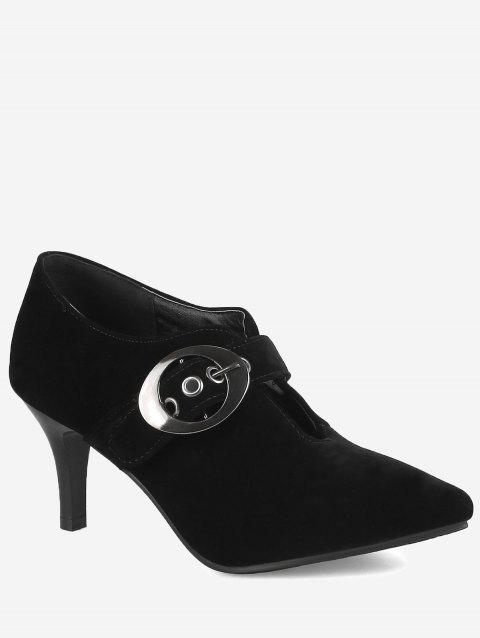 Plus Size High Heel Pointed Toe Carve Out Pumps - BLACK 40