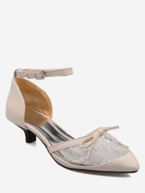Plus Size Bow Splicing Ankle Strap Sandals - BEIGE 37