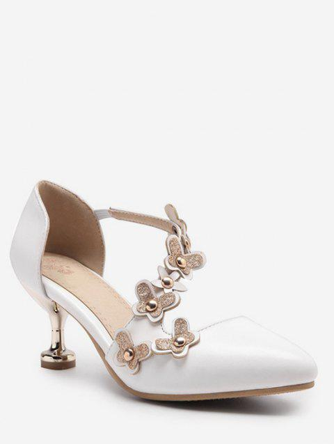 Plus Size Mid Heel Floral Glitters Chic Party Pumps - WHITE 39