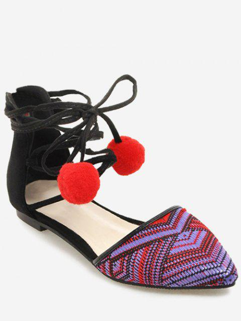 Plus Size Ankle Strap Patchwork Pompom Lace Up Sandals - ROSE RED 37