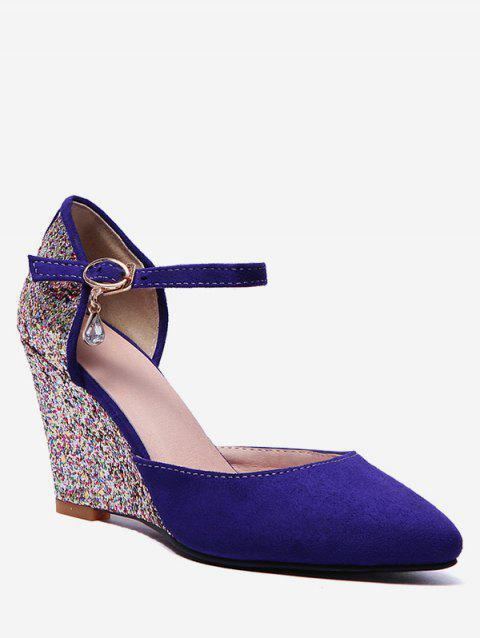Plus Size Ankle Wrap Glitters Wedge Heel Chic Pumps - EARTH BLUE 38