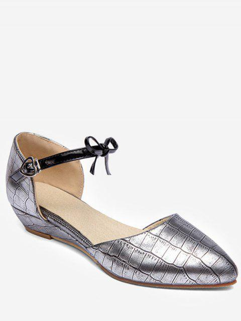 Plus Size Low Heel Pointed Toe Bow Chic Sandals - SILVER 42