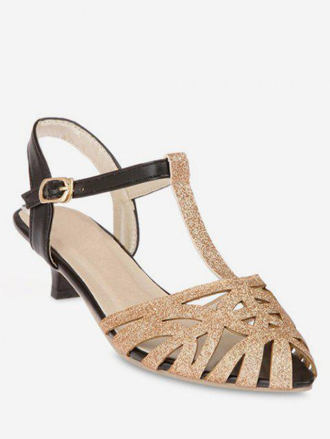 Plus Size T Strap Pointed Toe Hollow Out Sandals - GOLD 37