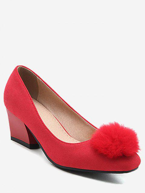 Plus Size Daily Pompom Embellished Block Heel Pumps - RED 42