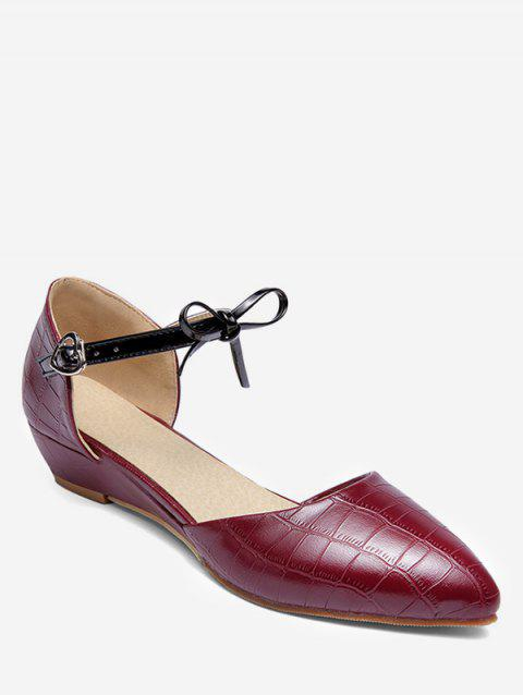 Plus Size Low Heel Pointed Toe Bow Chic Sandals - RED WINE 37