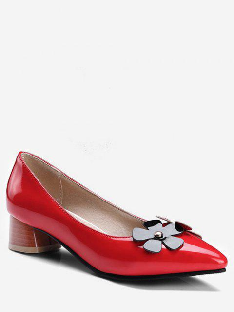 Plus Size Chunky Heel Floral Embellished Pumps - RED 37