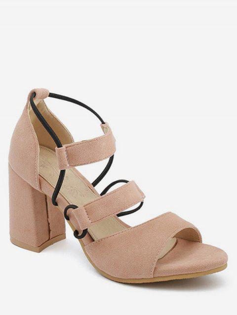 Plus Size Block Heel Casual Strappy Open Toe Sandals - LIGHT PINK 39