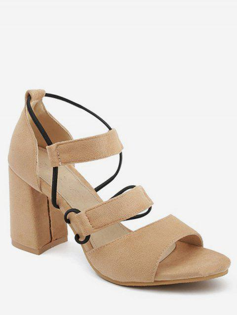 Plus Size Block Heel Casual Strappy Open Toe Sandals - CAMEL BROWN 37
