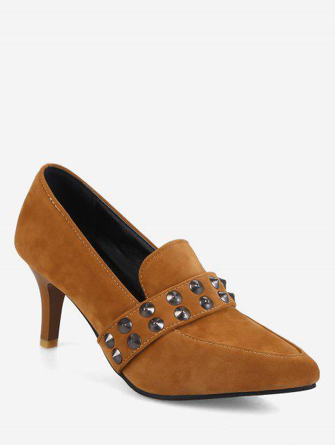 Plus Size Pointed Toe Studs High Heel Pumps - LIGHT BROWN 37